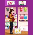 pregnant woman shopping baby stuff vector image vector image