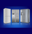 refrigerator on blue background modern home vector image vector image