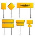road yellow traffic sign blank board with place vector image vector image