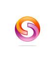 round circle 3d technology logo vector image