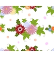 Seamless colorful flower pattern on white vector image