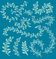 set of badges floral elements wreaths and laurels vector image