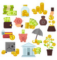 set of flat design concept money icons for finance vector image vector image