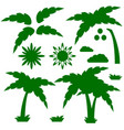 set of silhouettes of a cartoon palm tree with vector image vector image