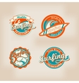 set retro surfing logo for t-shirt or poster vector image