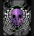 skull violet with race flag hand drawing vector image vector image