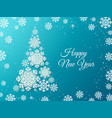 snowflake christmas tree paper cut decorative vector image vector image