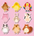 sticker design with farm animals vector image
