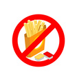 Stop French fries Ban fatty fast food Sliced vector image vector image