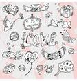 valentines day doodles vector image