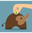 Elephant bank saving money vector image