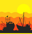 fishing boat sunset vector image