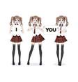 anime manga girl schoolgirl in a red skirt vector image vector image