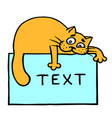 blue sheet with text and orange cat on top vector image
