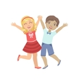 Boy And Girl Holding Hands Jumping vector image vector image