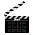 calendar for 2019 movie clapper board on a white vector image