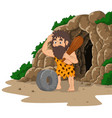 cartoon caveman inventing stone wheel with cave ba vector image vector image