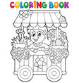 coloring book flower shop theme 1 vector image