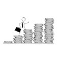 conceptual cartoon of businessman walk or climb vector image