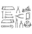 construction and repair tool isolated sketch set vector image