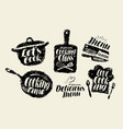 cooking cuisine label set cookery kitchen vector image vector image