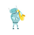 cute robot musician playing saxophone musical vector image vector image