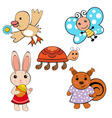 cute spring animals vector image vector image