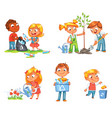 ecological kids design funny cartoon character vector image
