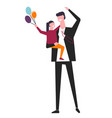 father holds daughter with balloons bunch in hand vector image vector image