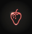 glowing strawberry neon icon in line style vector image
