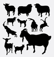 Goat and sheep pet animal silhouette vector image vector image