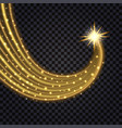 gold glowing wave light flash effect and trail vector image vector image