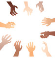 hands reaching to product vector image
