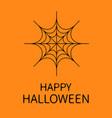 happy halloween card spider round web black vector image vector image