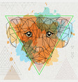 hipster polygonal animal dog on artistic vector image