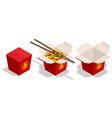 isometric noodles box fast food menu asian vector image