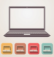Laptop flat icons set fadding shadow effect vector image vector image