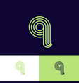 letter q monogram thin lines green web ui icon vector image vector image