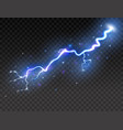 lightning on transparent background realistic vector image vector image