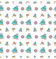 line art summer seamless beach pattern vector image