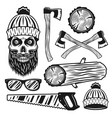 lumberjack equipment and attributes objects vector image