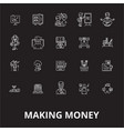 making money editable line icons set on vector image vector image
