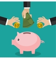 Many hands putting coin and money into a piggy vector image