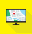 map application on desktop pc monitor flat design vector image vector image