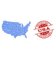 mosaic map of usa with connected points and vector image vector image