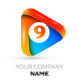 number nine symbol in the colorful triangle vector image vector image