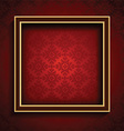 old picture frame on red damask background 0508 vector image vector image