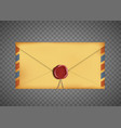 old vintage closed envelope with a wax seal vector image