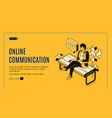 online communication isometric landing page banner vector image