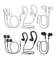 outline and realistic earphones isolated on vector image